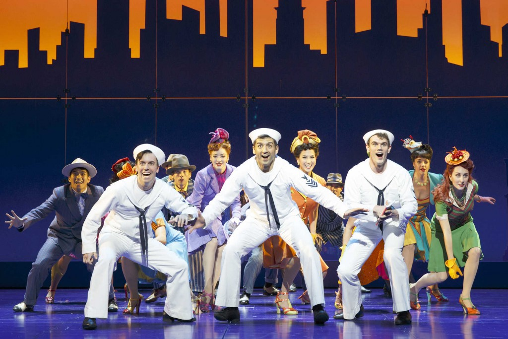 "In this image released by Matt Ross Public Relations, Clyde Alves, front row from left, Tony Yazbeck and Jay Armstrong Johnson appear during a performance of ""On the Town,"" in New York. (AP Photo/Matt Ross Public Relations, Joan Marcus)"